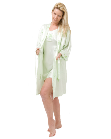Short Satin Nightie and Kimono Set - Clearance