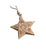 Hand Carved Wooden Star Decoration