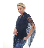Silk Triangular Lace Scarf with Fringe
