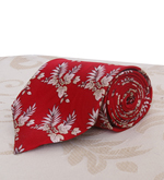 Red Silk Tie with Leaf Design