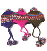 Hand Knitted Silk and Wool Earflap Hat